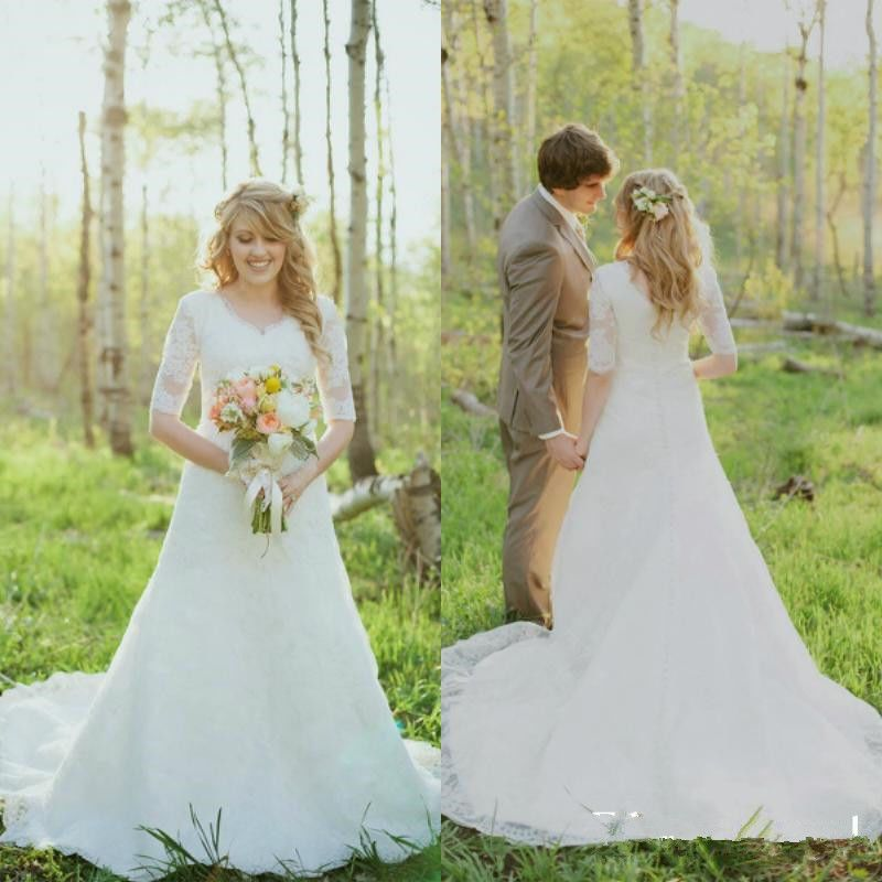 Vintage Wedding Dresses A Line Sheer Lace Half Sleeve modest ...