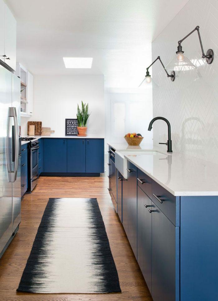 küchenfarben frische küchengestaltung in blau ind weiß Farben - küchen farben trend