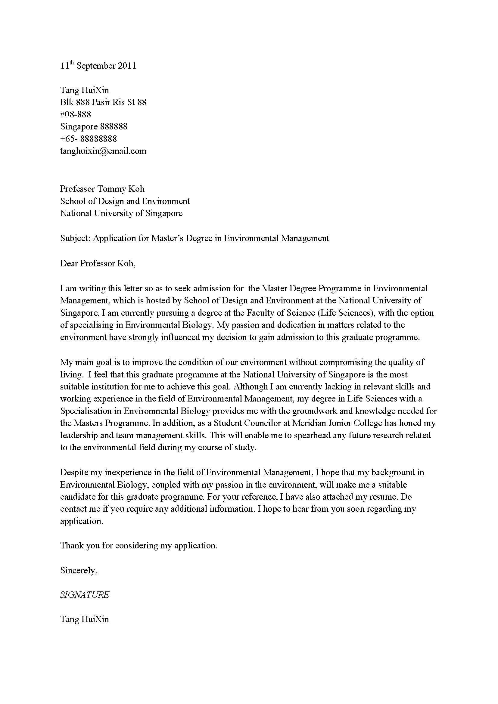 Admission Application Letter  Application request letter