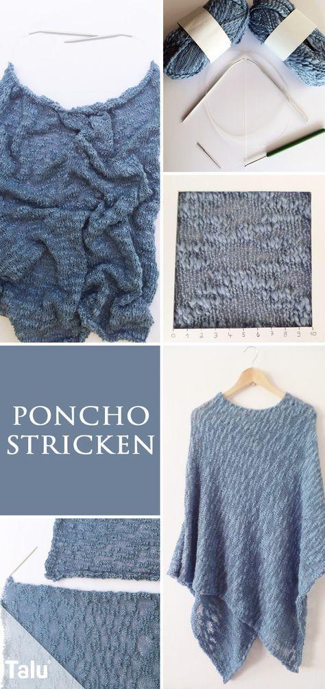 Poncho selber stricken - kostenlose Anleitung für Anfänger ...