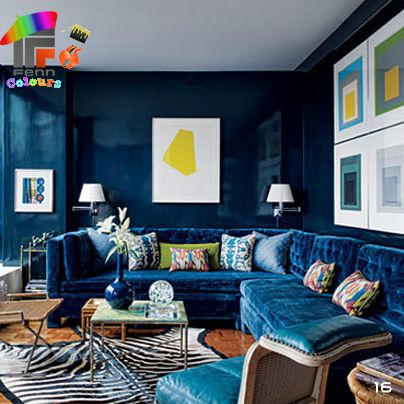 Fenn Colours  A small room doesn't have to painted in light colours. Emphasise its cosiness by painting it a midnight blue or deep red.