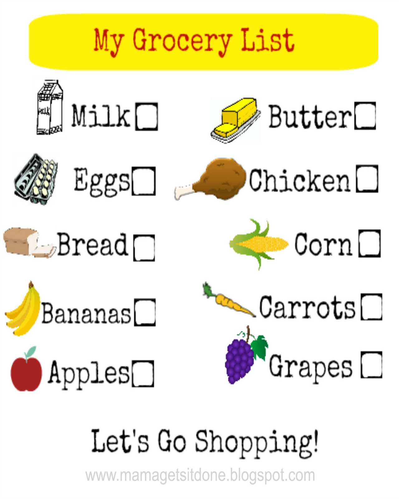 Free Printable Kids Grocery Shopping List