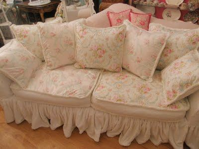 Vintage Chic Furniture Schenectady Ny Shabby Slipcovered Sofa With Chenille Bedspreads And Rose Fabrics