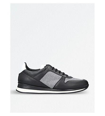 0947f0cb3bb ERMENEGILDO ZEGNA City Life leather and flannel runner sneakers.   ermenegildozegna  shoes
