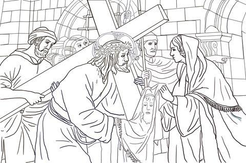 Sexta Estación: Verónica Limpia la Cara de Jesús Dibujo para ...