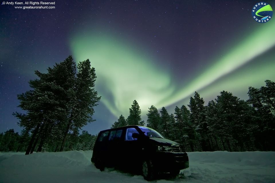 My trusty VW minibus parked under the Northern Lights.  © Andy Keen - All Rights Reserved.