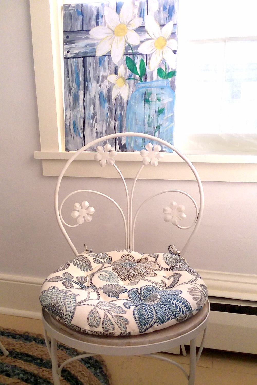 Boutique Floral Blue Bistro Chair Pad 16 Round Cushion With