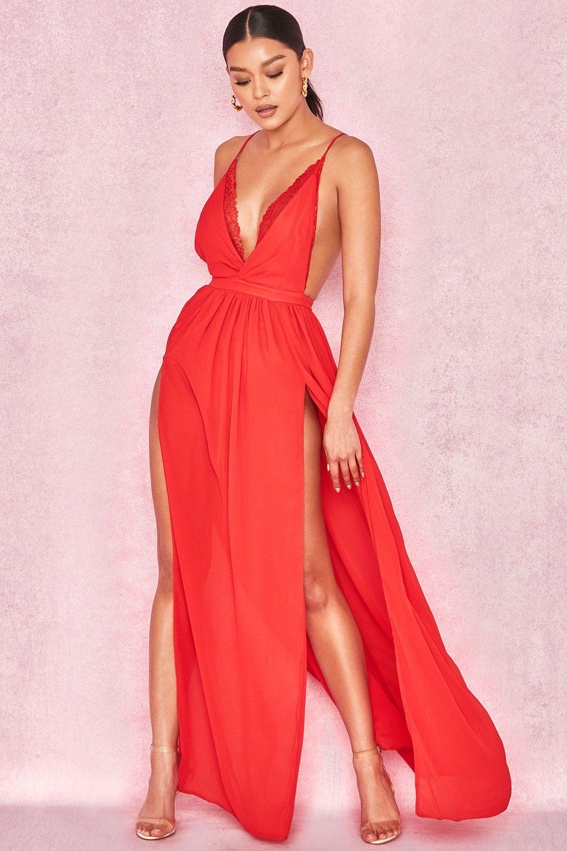 c9140daa07b HOUSE OF CB  DARLA  RED CHIFFON MAXI DRESS