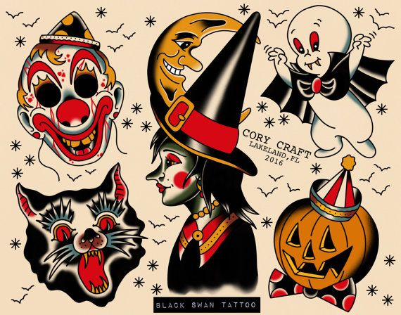 Halloween Tattoo Flash By Glitterghoststore On Etsy Halloween Tattoo Flash Traditional Tattoo Halloween Halloween Tattoos