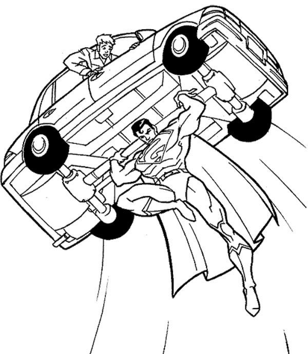 Superman Flying With a Car Coloring Page | Superman | Pinterest