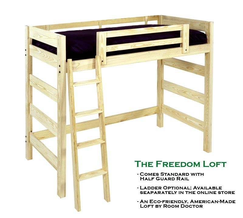 Twin Size Freedom Loft Bed Frame: Unfinished Wood NEW | Loft bed ...