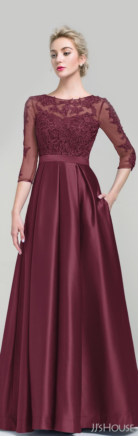 Ball-Gown Scoop Neck Floor-Length Satin Evening Dress (017093487 ...