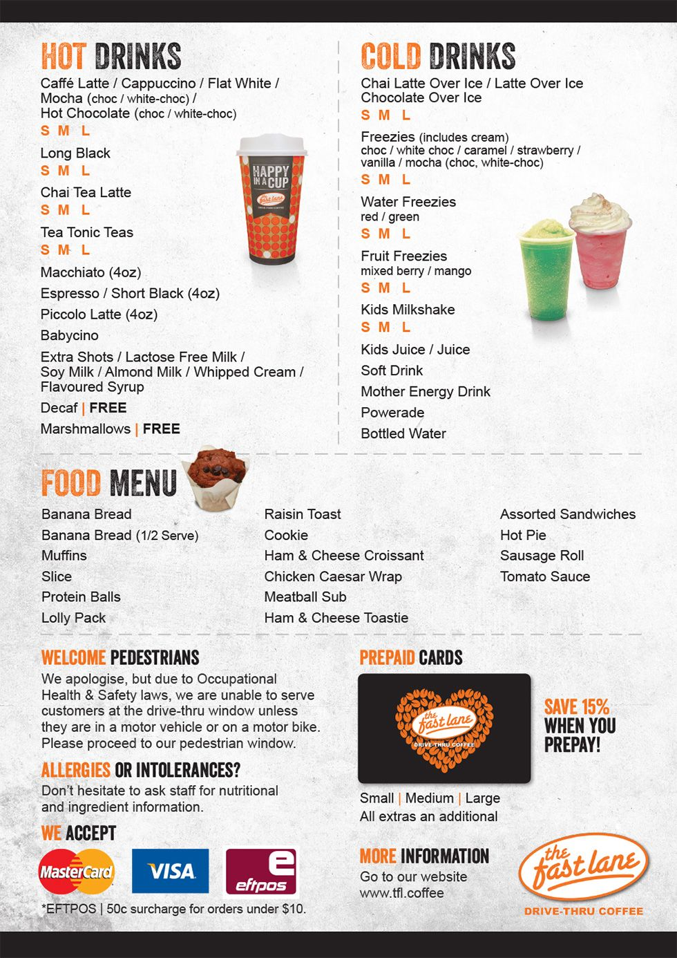 The Fast Lane Drive Thru Coffee Menu Coffee Menu Coffee Shop Menu Drive Thru Coffee