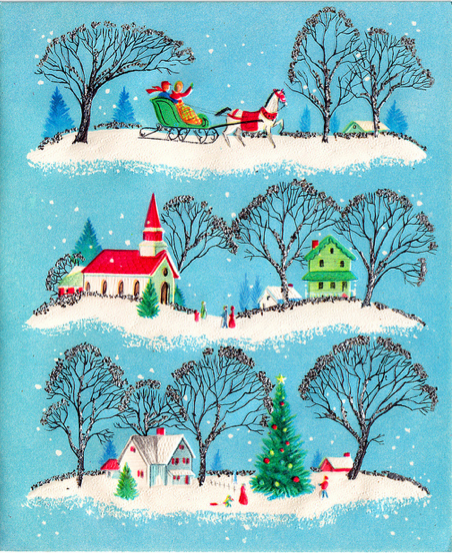 The wonderful glitter as leaves at the edges of the trees doesn't show up very well as scanned on this vintage Christmas card, but I love it all the same for its simple, scenic goodness.