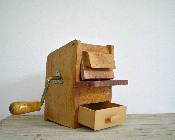 CHEESE grater vintage wooden grinder wood mill by viadeinavigli, $78.00