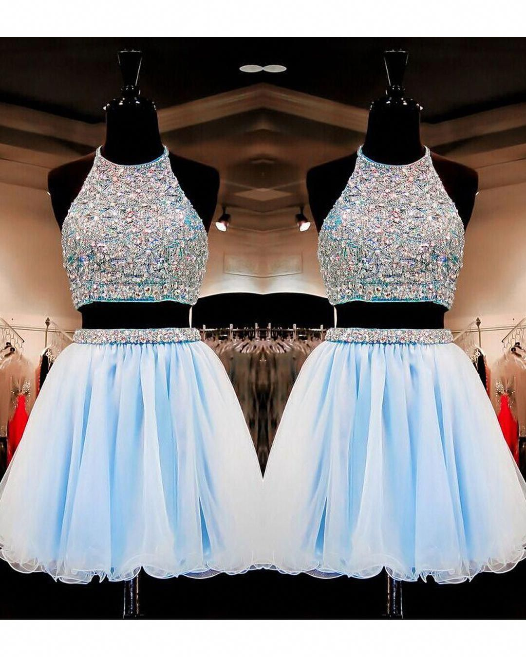 bcab84a62c9 Sweet 16 Gowns Light Sky Blue Tulle Short Homecoming Dresses Dress 2 Pieces  With Beading  homecomingdressespretty