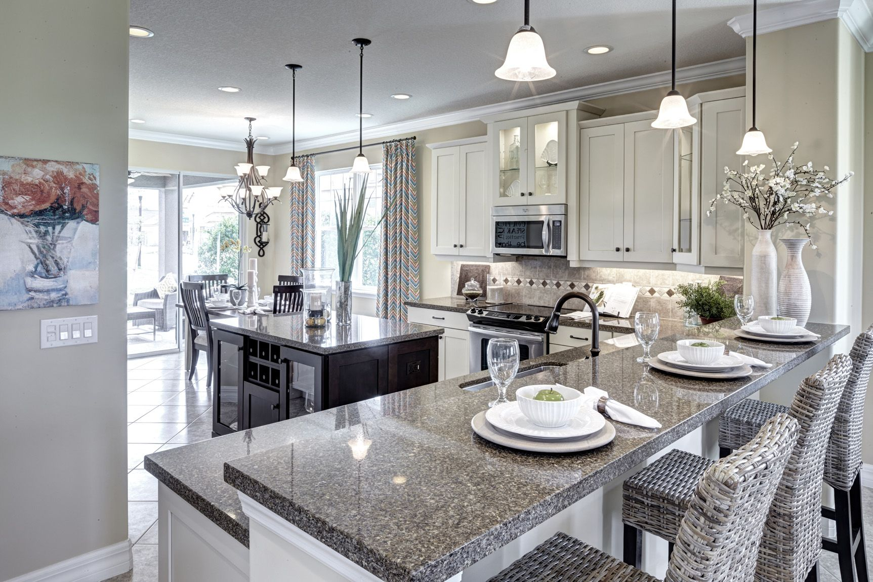 GRANITE COLOUR Elegant Lighting Makes For An Kitchen Our Exquisite Newbury Model Millennia Park Orlando