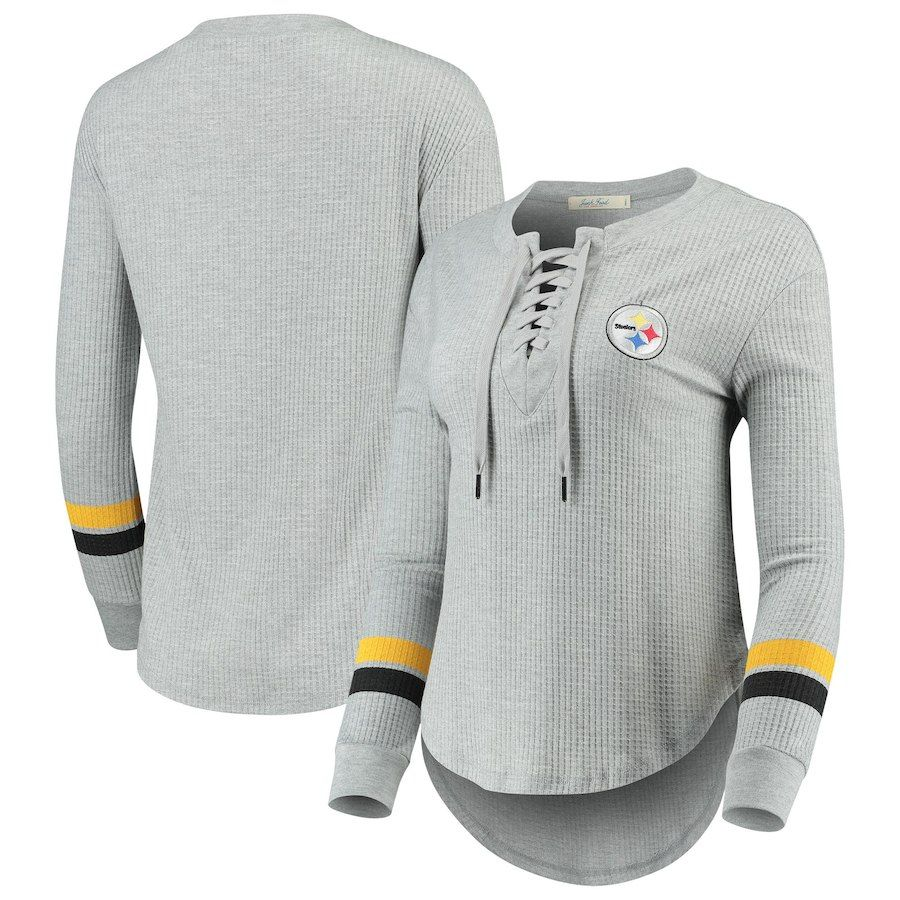 3d8903df7 Pittsburgh Steelers Junk Food Women's Team Logo Thermal Lace-Up V-Neck Long  Sleeve T-Shirt – Heathered Gray
