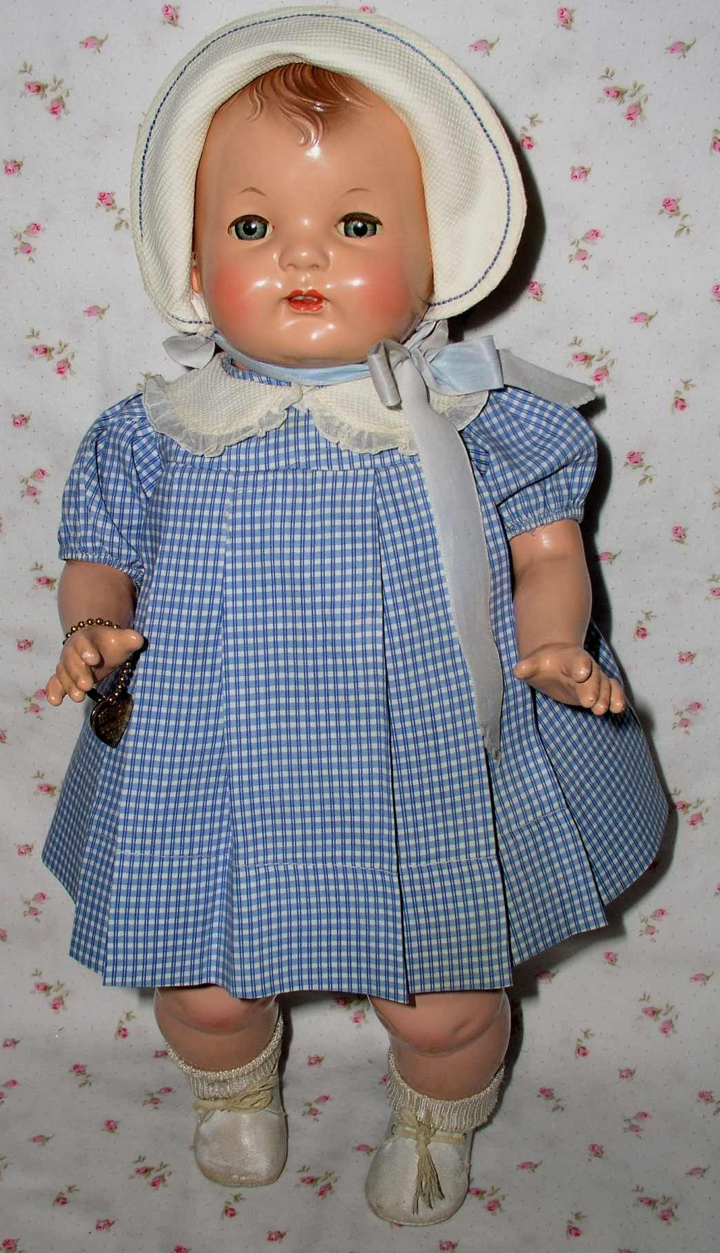 """RARE Wonder Doll --1925 Effanbee 18"""" BABY EVELYN Composition Doll -- A/O -- Fabulous - With 4 Outfits"""