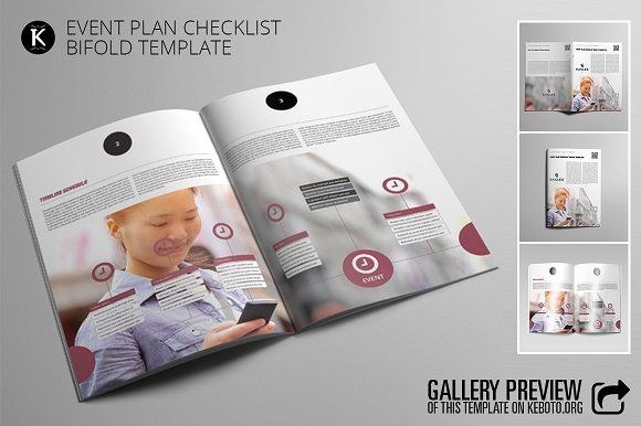 Event Plan Checklist Bifold Template, Adobe indesign and Adobe - Event Plan Template