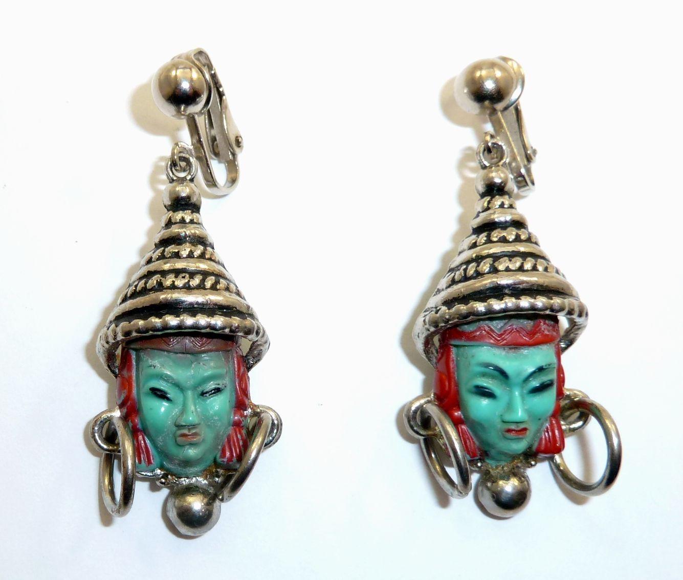 Unmarked Selro/Selini Thai Princess clip earrings.  Photographed by Gillian Horsup.  www.gillianhorsup.com