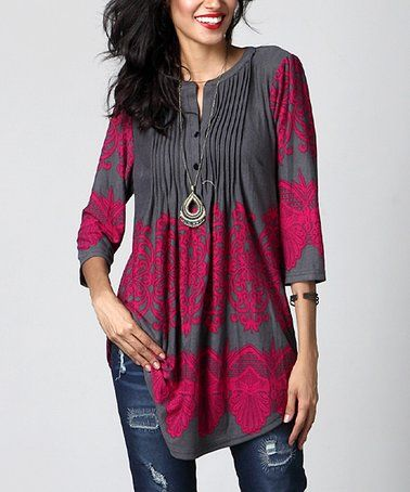 6215e8b7aec2 Look what I found on  zulily! Charcoal Lace-Print Notch Neck Pin Tuck Tunic   zulilyfinds