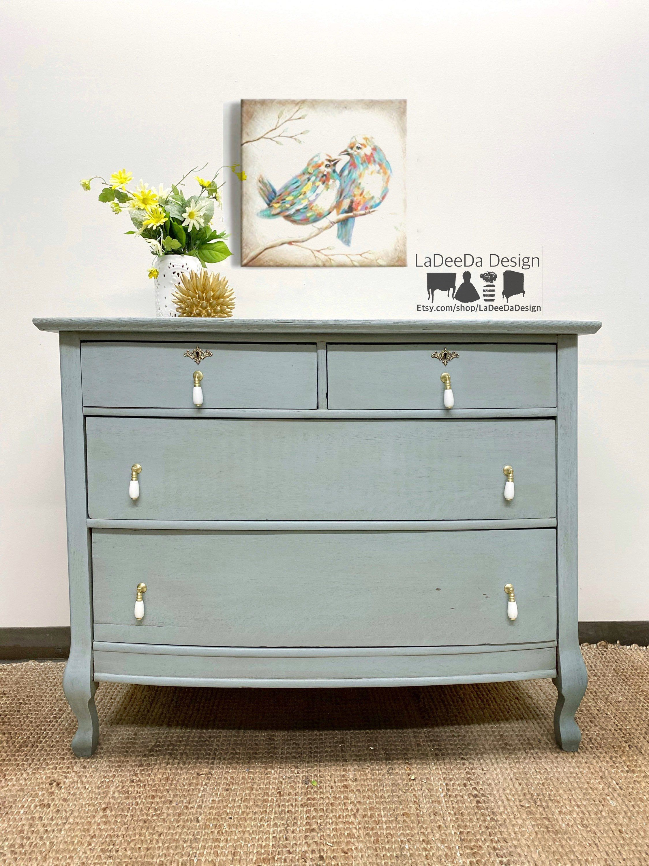 Vintage Baby Blue Dresser Chest And Changing Table By Ladeeda Design Antique Blue Woodchest Babyblue Vintage Dressers Vintage Chest Of Drawers Wood Chest [ 3000 x 2250 Pixel ]