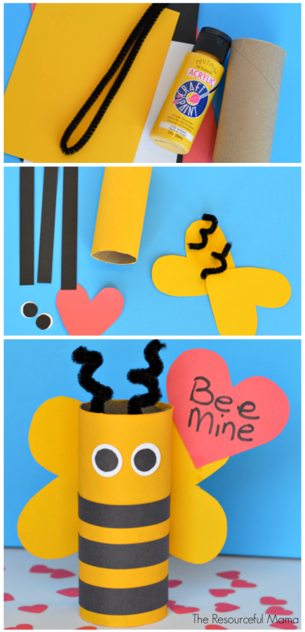 Toilet Paper Roll Bee Mine Valentine S Day Craft For Kids