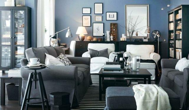 Wohnzimmer Einrichten Ideen Blaue Farbe Wand Gestaltung Home