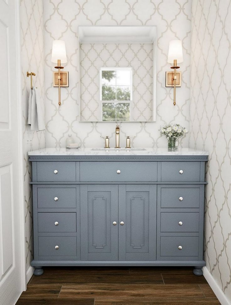 Photo of stufurhome 48 in. Abigail Embellished Single Sink Vanity in Grey with Marble Vanity Top in Carrara with White Basin