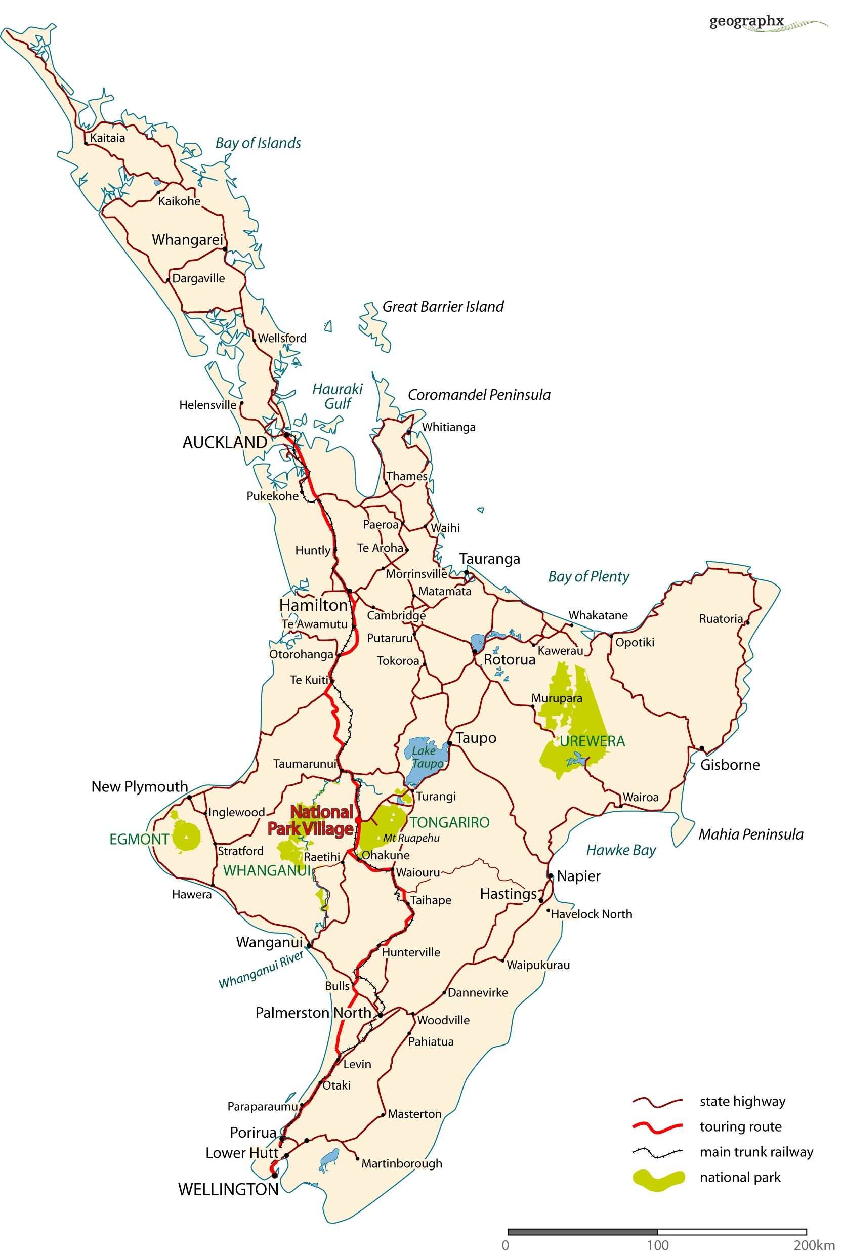 New Zealand North Island Attractions Map