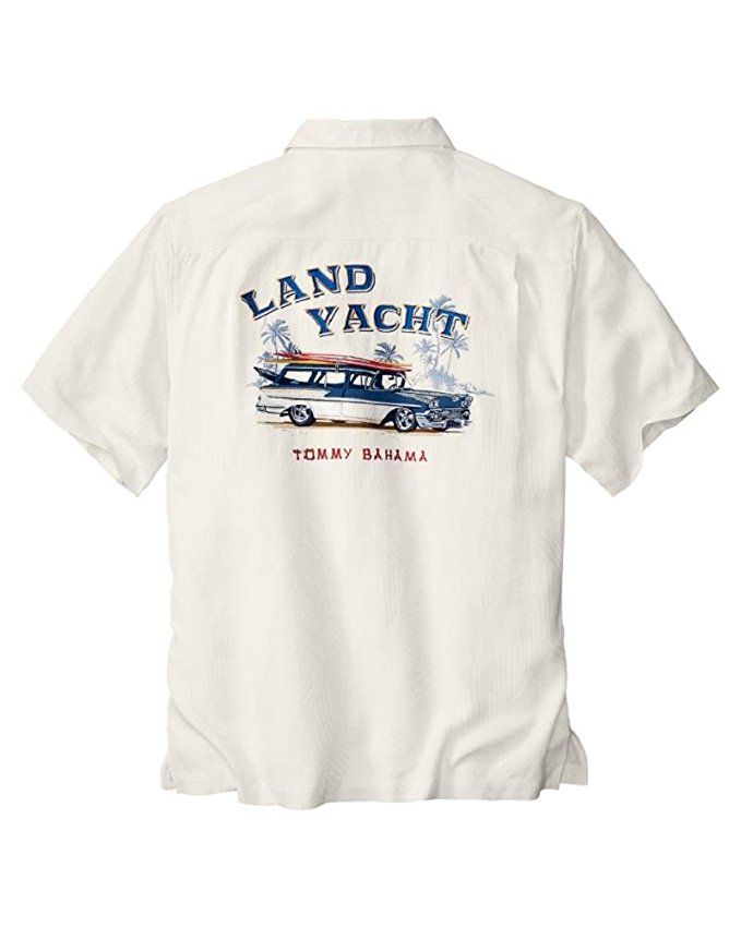 3280faacc1 Tommy Bahama Embroidered Boards Ashore Land Yacht Silk Camp Shirt (Color   Continental