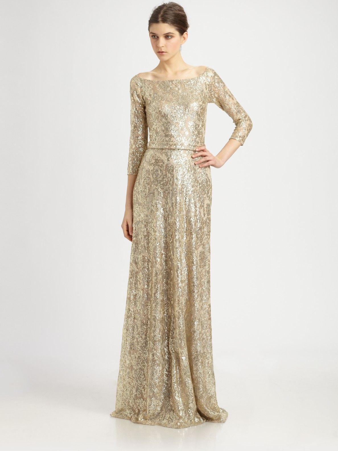 David Meister gold metallic lace gown | Women\'s Fashion | Pinterest ...