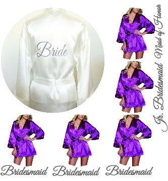 Purple Satin Silk Kimono Robe For bride Bridesmaids by ArenLace