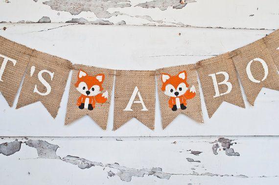 it s a boy banner fox banner fox baby shower banner baby boy