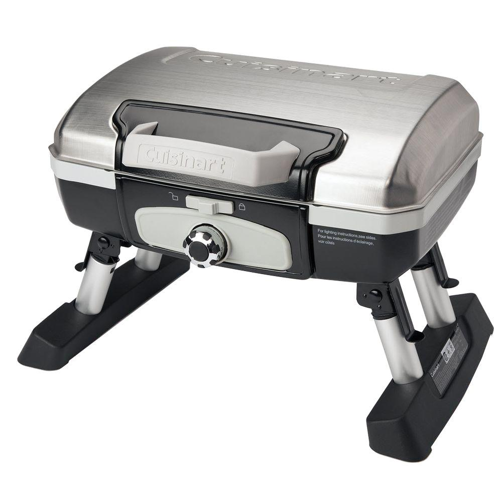 Cuisinart Petit Gourmet 1 Burner Tabletop Portable Propane Gas Grill In  Stainless