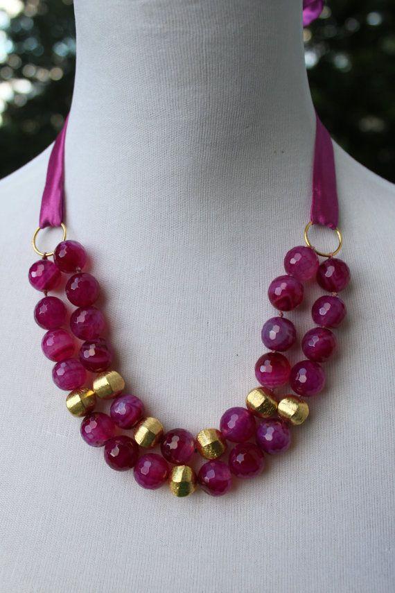 Hot Pink Agate Necklace by LuxuryatTRIZIAshop on Etsy, $148.00