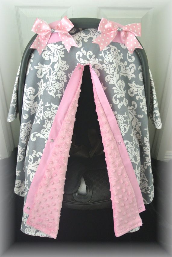 Minky Carseat Canopy Car Seat Cover Gray Grey Pink White Damask Polka Dots Bows Baby Infant Girl Baby Girl Baby Boy I Baby Girl Baby My Baby Girl