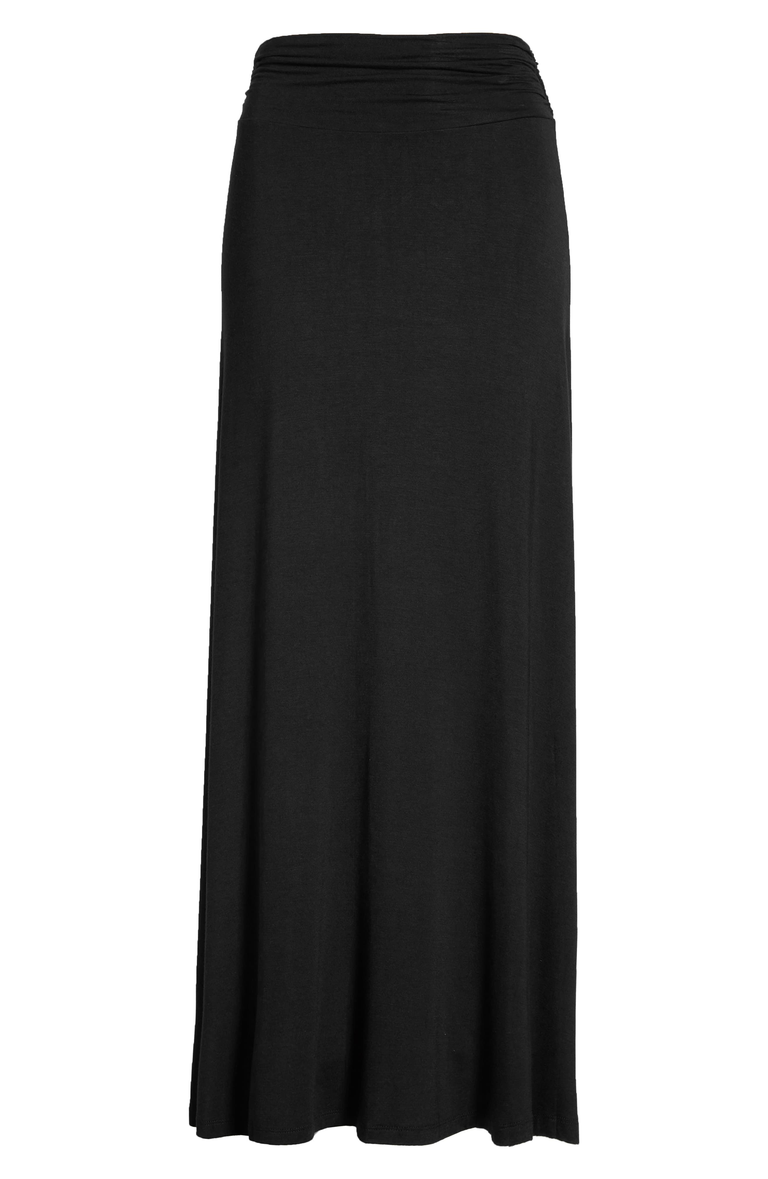 a0c3c1e939 Women's Bobeau Ruched Waist Side Slit Maxi Skirt, Size Large - Black ...