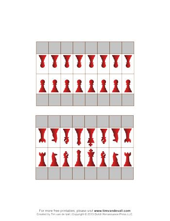 A set of printable chess pieces for making your own chess game