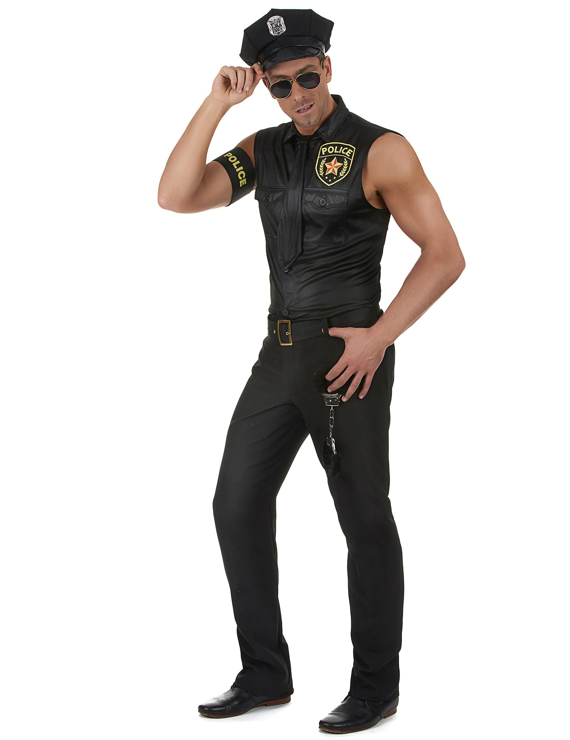 Polizist Herrenkostum Uniform Schwarz Ferfi Stilusok Sexy