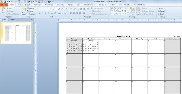 How To Create A Calendar Template In Powerpoint  Classroom