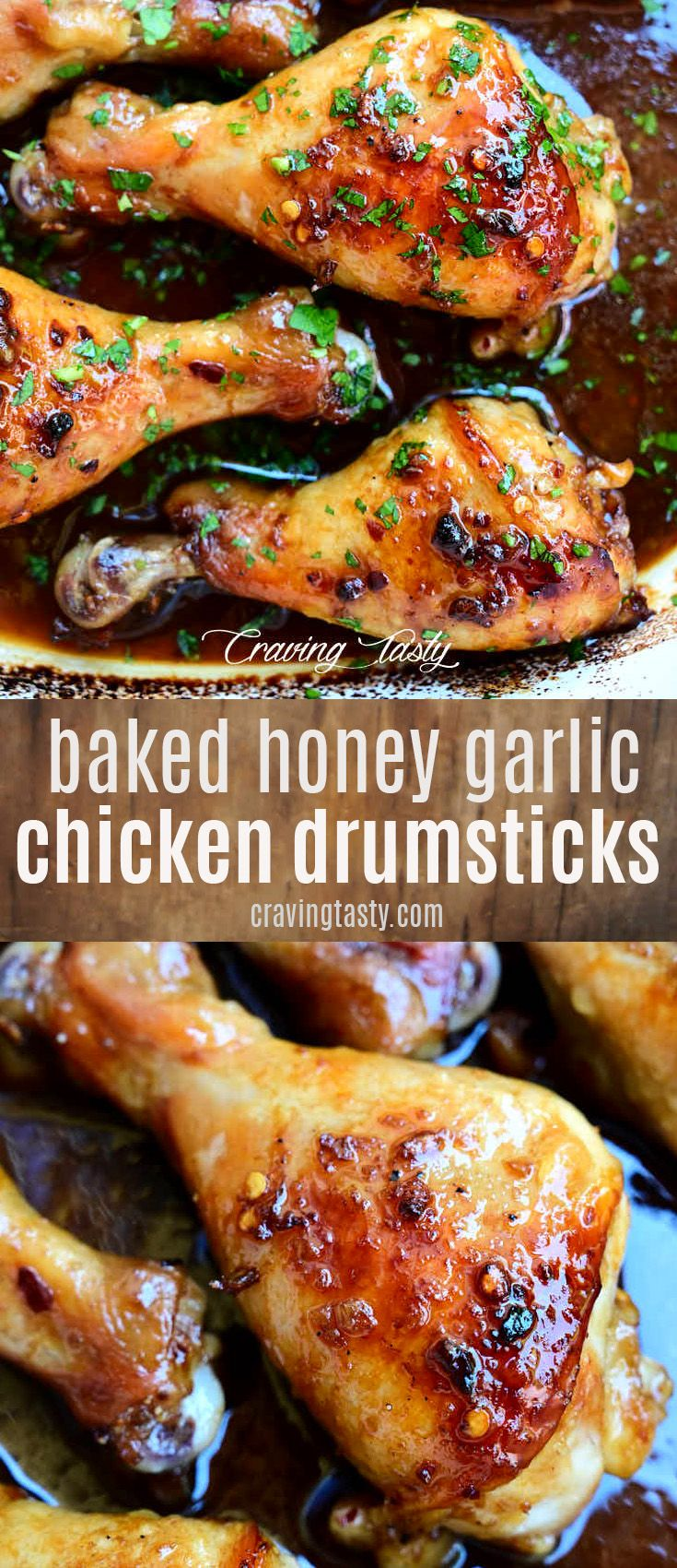 Oven baked chicken drumsticks that are so good that you will be running for seconds. Best oven baked chicken leg recipe. Super easy to make. | cravingtasty.com #bakeddrumsticks #bakedchicken