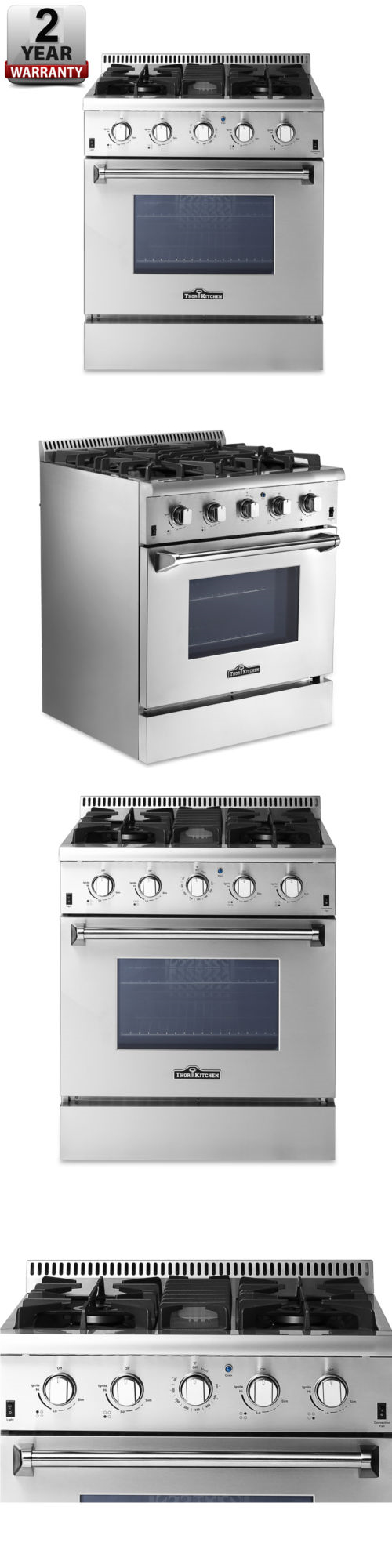 ranges and stoves 30 gas range 4 burners w gridldle stainless steel thor kitchen