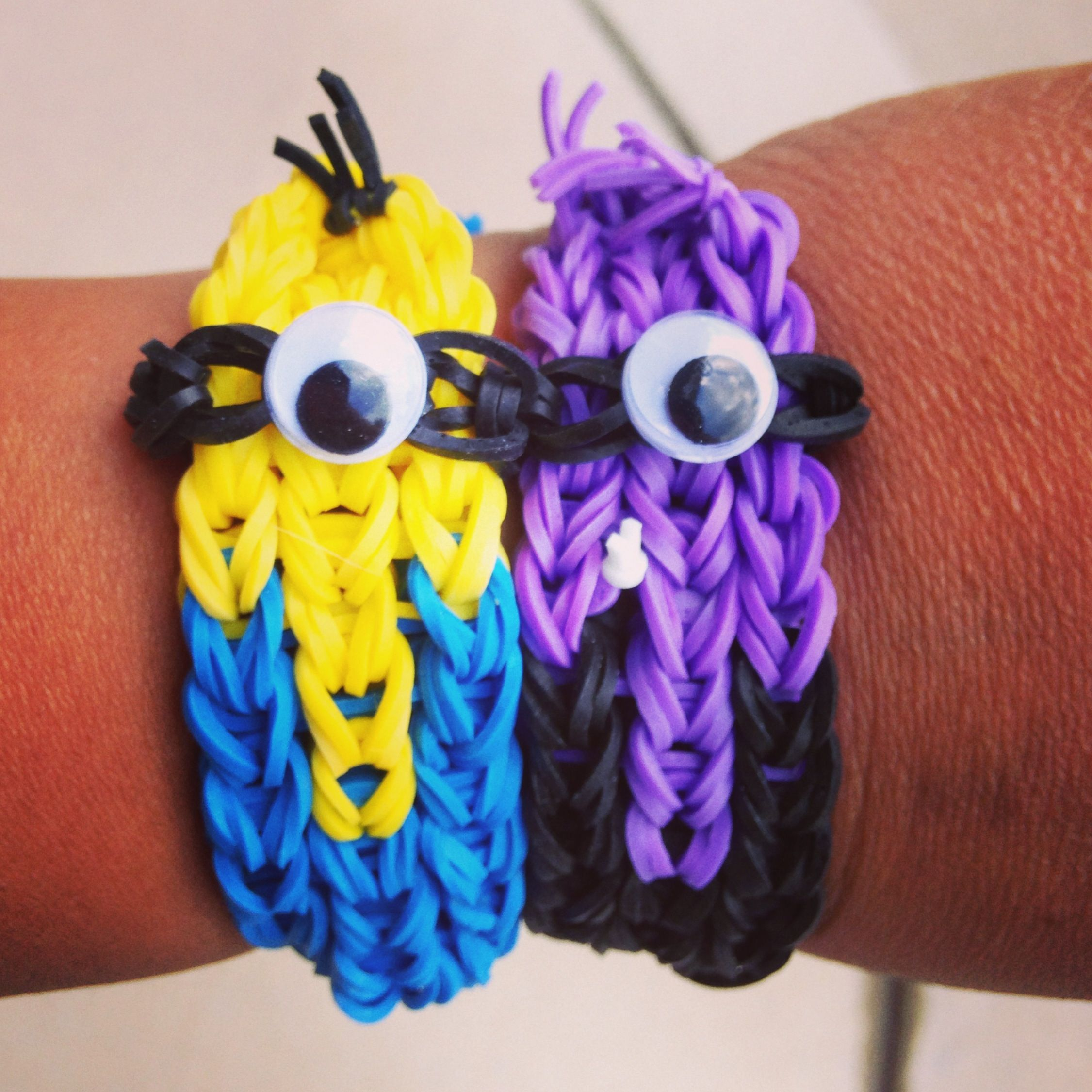 Minion rainbow loom bracelets www.bandzofbrotherz.weebly.com.      They look weird but it looks like it would be fun to make!