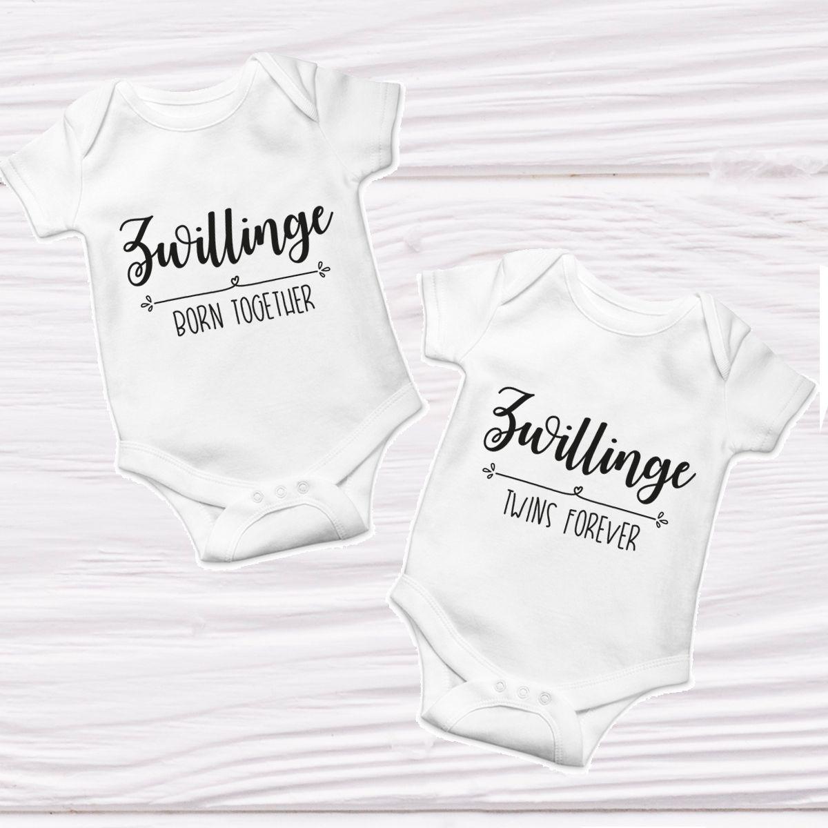 Baby Bodies Zwillinge Born Together Twins Forever Herzpost Baby Einteiler Body Bedrucken Zwillinge