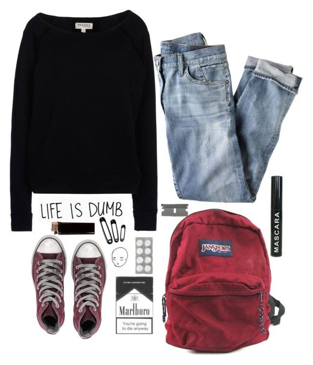 """""""she just had a bad night"""" by emileemaree ❤ liked on Polyvore featuring TEXTILE Elizabeth and James, J.Crew, JanSport and Converse"""