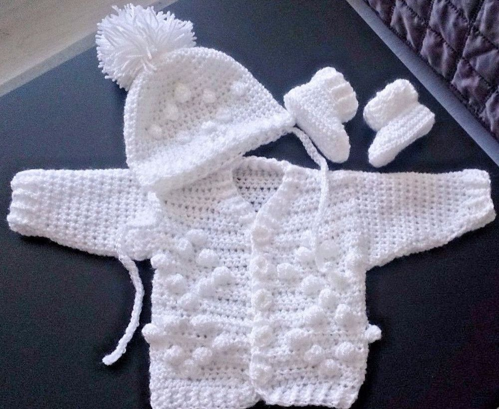 hand made crochet baby girls baby boys cardigan hat and first shoes