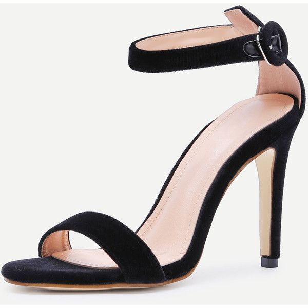 4e23582101f8 SheIn(sheinside) Black Open Toe Ankle Strap Velvet Stiletto Sandals ( 32) ❤  liked on Polyvore featuring shoes