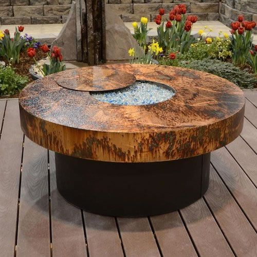 Round Copper Gas Fire Pit Table With